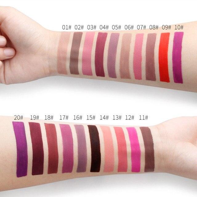 Qibest Double Head Matte Lip Gloss Lip Tint Liner Waterproof Nude Makeup Lipgloss Lasting Matt Purple Red Brown Liquid Lipstick 1