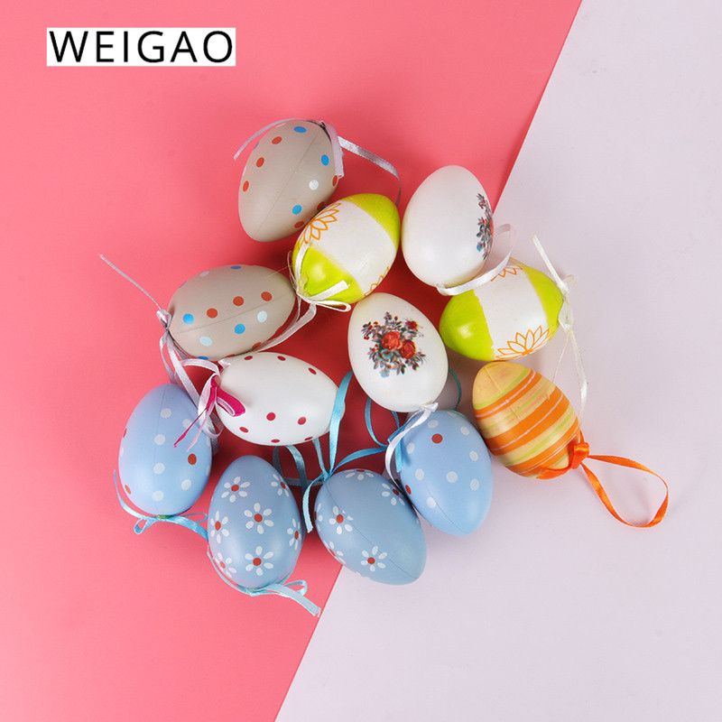 WEIGAO 6pcs Random Mixed Color Easter Eggs Easter Decor For Home Plastic Painted Eggs Hanging Pendant Easter Decoration Supplies