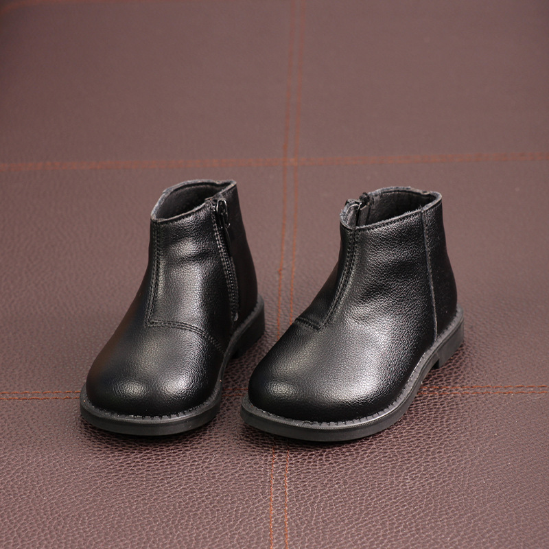 MXHY2019 Spring And Autumn And Winter New Children's Leather Boots Boys And Girls Black Short Boots Plus Velvet Leather Boots