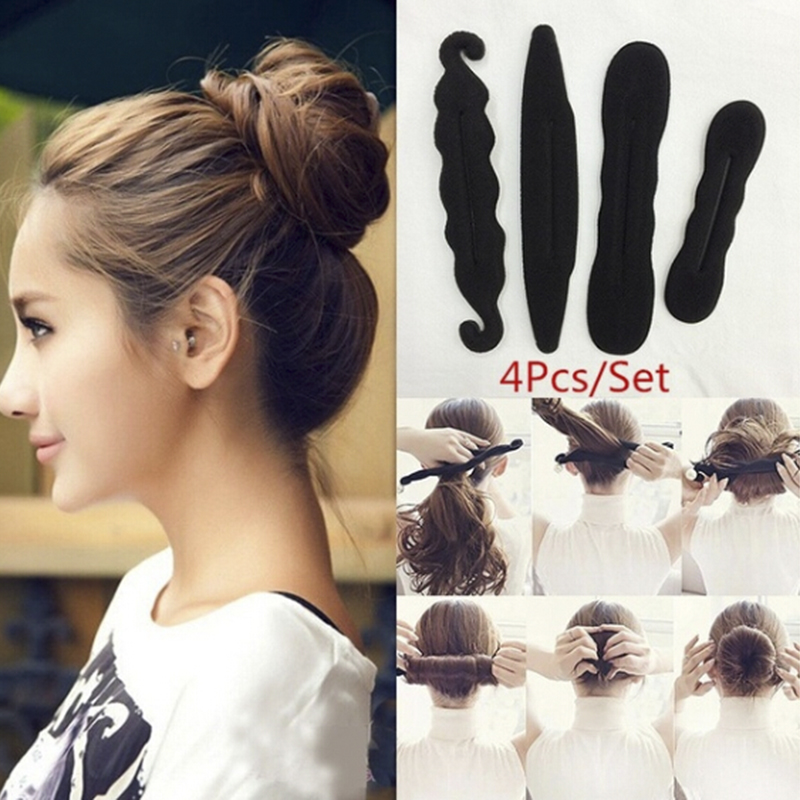 4Pcs/Set Fashion Magic Foam Sponge Clip Bun Curler Hairstyle Twist Maker Tool Dount Twist Hair Accessories Styling
