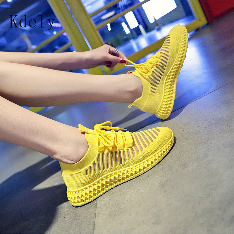 Fashion Spring Summer Yellow Knitted Breathable Casual Shoes Women Sneakers Korean Sports Leisure Shoes Women Vulcanize Shoes