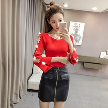 New Hollow Round Neck Flared Sleeves Solid Color Bottoming Women Sweater Temperament Long Sleeve Pullover Slim fit Women Cloth black round neck flared sleeves blouse