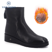 купить VAIR MUDO New Fashion Winter Ankle Boots Low Heel Real Fur 100% Wool Women Shoes Comfortable Sheepskin Warm Snow Boots DX22 дешево