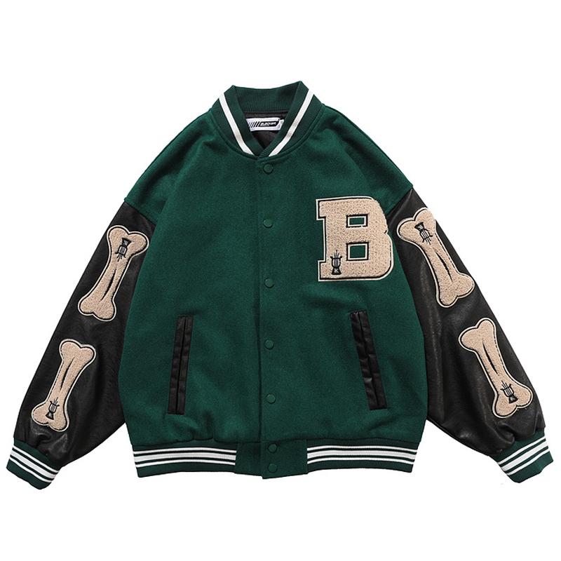 Men PU Leather Long Sleeve Bomber Jackets Vintage Patchwork Bone Embroidery Baseball Jacket 2020 Autumn Oversized V neck Coats