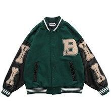 Men PU Leather Long Sleeve Bomber Jackets Vintage Patchwork Bone Embroidery Baseball Jacket 2020 Autumn Oversized V-neck Coats