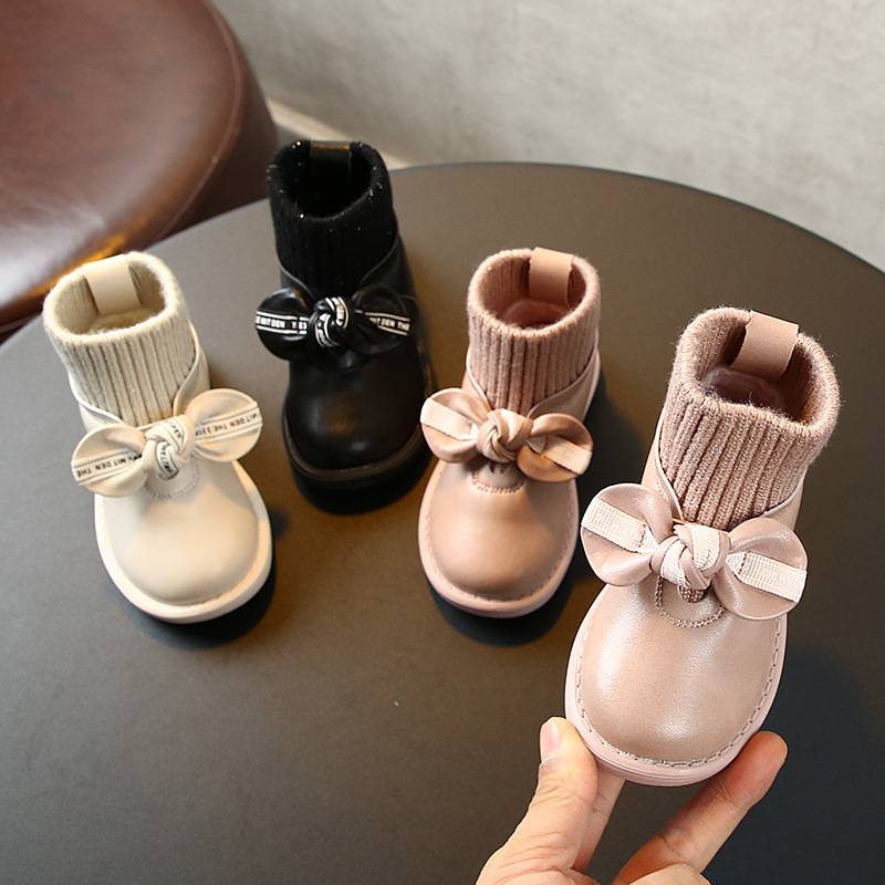 Toddler autumn and winter girls casual short boots knitted princess socks boots soft bottom leather shoes children's shoes