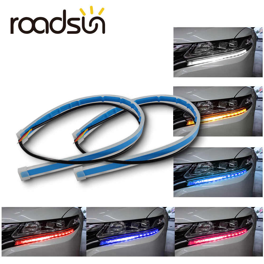roadsun 2pcs Led DRL Daytime Running Lights Turn Signal DRL Led Strip Car Light Accessories Brake Side Light Headlights For Auto