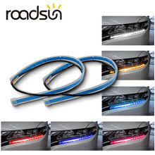 roadsun 2pcs Led DRL Daytime Running Lights Turn Signal DRL Led Strip Car Light Accessories Brake Side Light Headlights For Auto(China)
