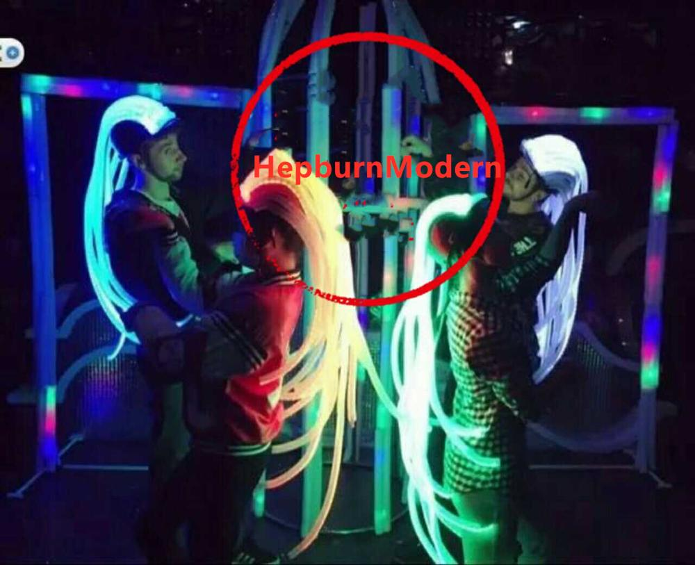 LED Light Hair Lumious Led Hat Stage Performance Headdress Party Show Future Technology Cosplay Wigs Profiled Iron Warrior