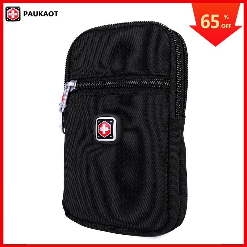 PAUKAOT Men Waist Packs Belt Bag Casual Fanny Phone Pouch Purse Bum Hip Pockets Vertical Waterproof Zipper Small Bags For Male