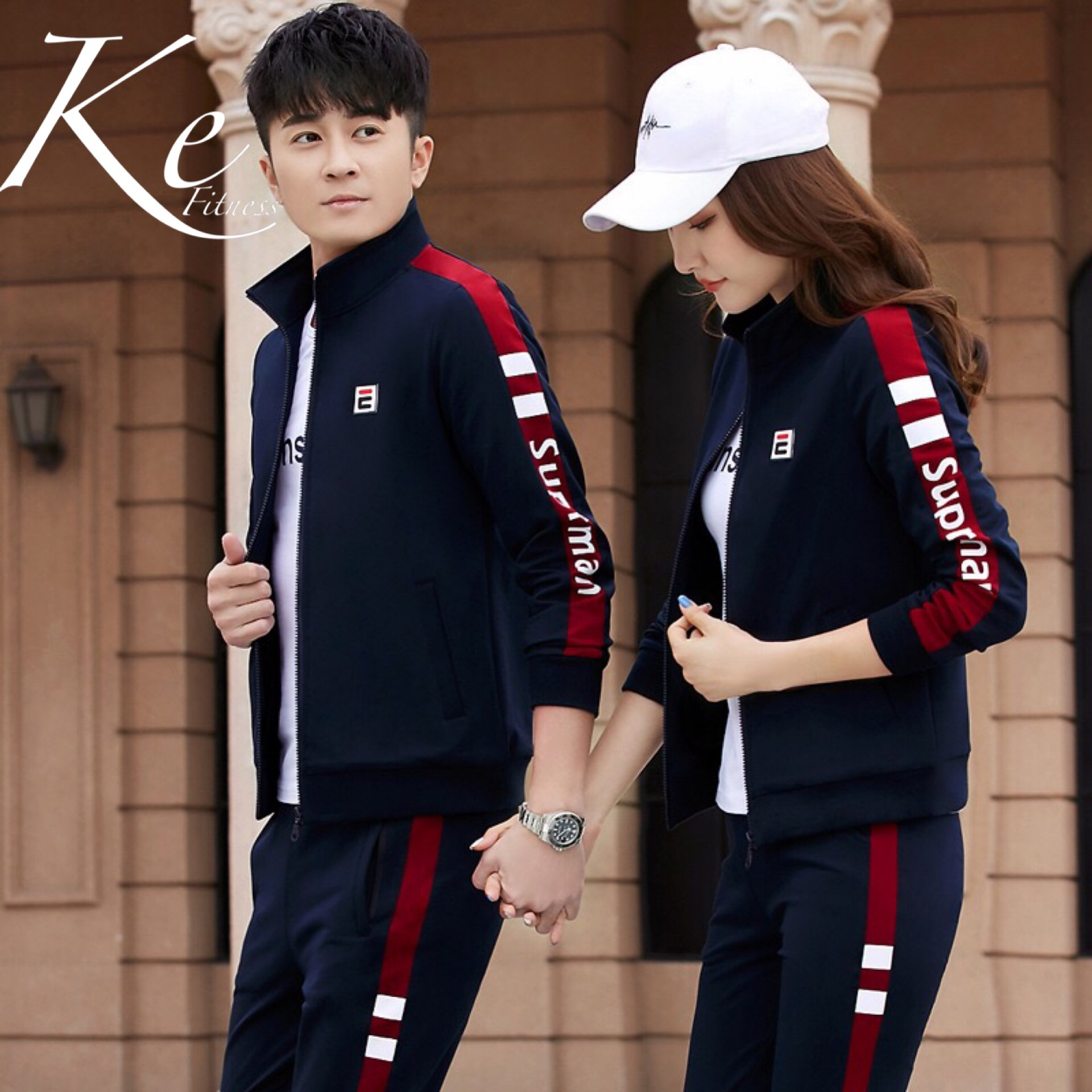 KE 2019 New Couple Sports Suit Men Large Size Plus Casual Running Sportswear Women Three-piece T-shirt And Tracksuit Slim Cotton