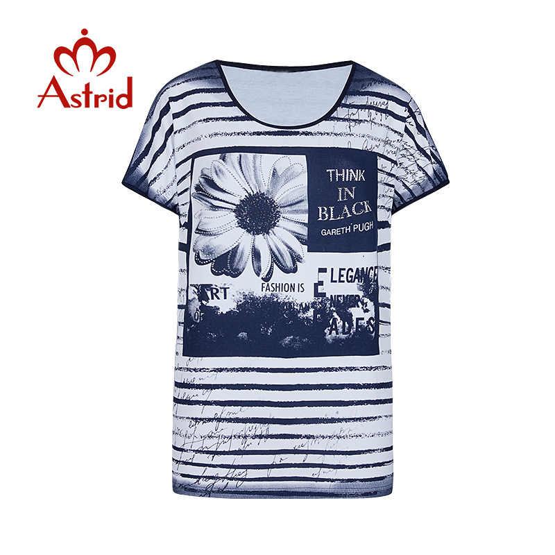 Astrid 2020 ฤดูร้อน OVERSIZE Wonmen's เสื้อยืดกราฟิกพิมพ์ผ้าฝ้ายลายวาง VINTAGE สั้นเสื้อผ้าผู้หญิง P407