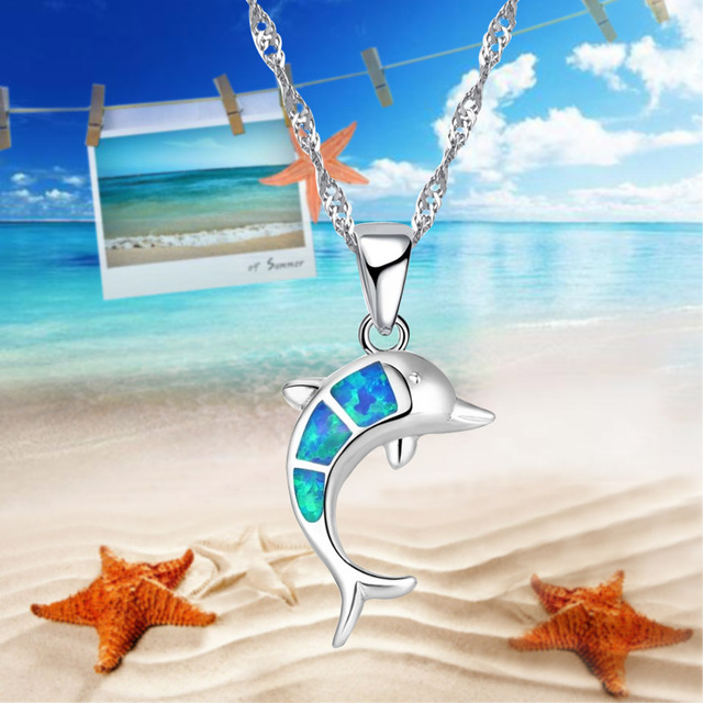 Lovely Silver Color Blue Fake Fire Opal Dolphin Necklace Pendant Jewelry, Suitable For Party Accessories Ladies Necklace Jewelry