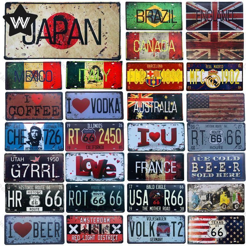 Металлический номерной знак, Российский национальный флаг, жестяной знак, винтажная Настенная Наклейка для декора мужской пещеры, Япония, М...