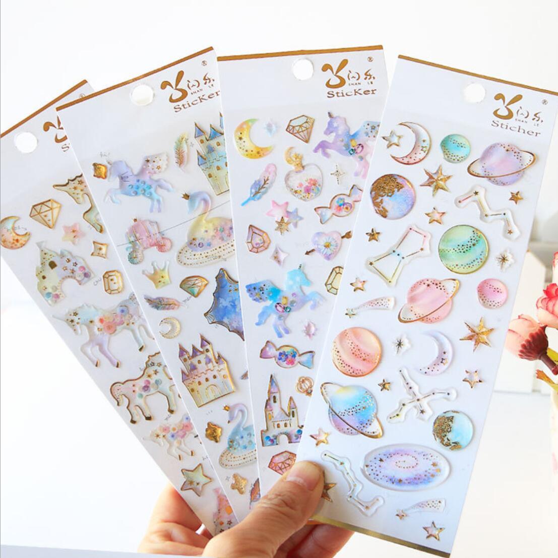 Kawaii Unicorn Castle Space Planet Crystal Stickers Scrapbooking Diy Bullet Journal Diary Stationery Sticker Korean Cute