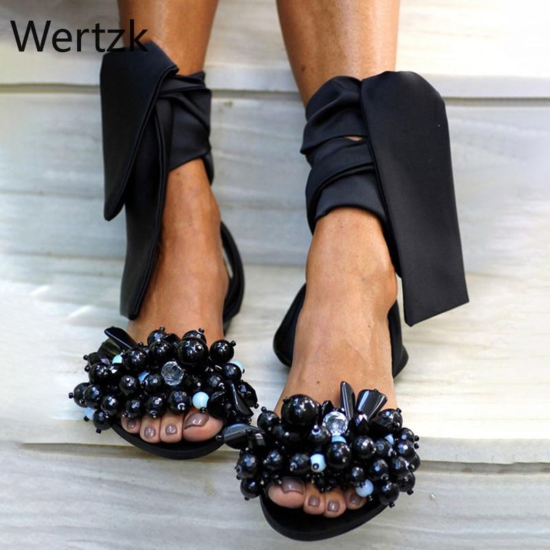 Summer Flat Sandals Women Flowers Handmade Beaded Rhinestones Pearl Lady Wind Plus Size 34-43 B529