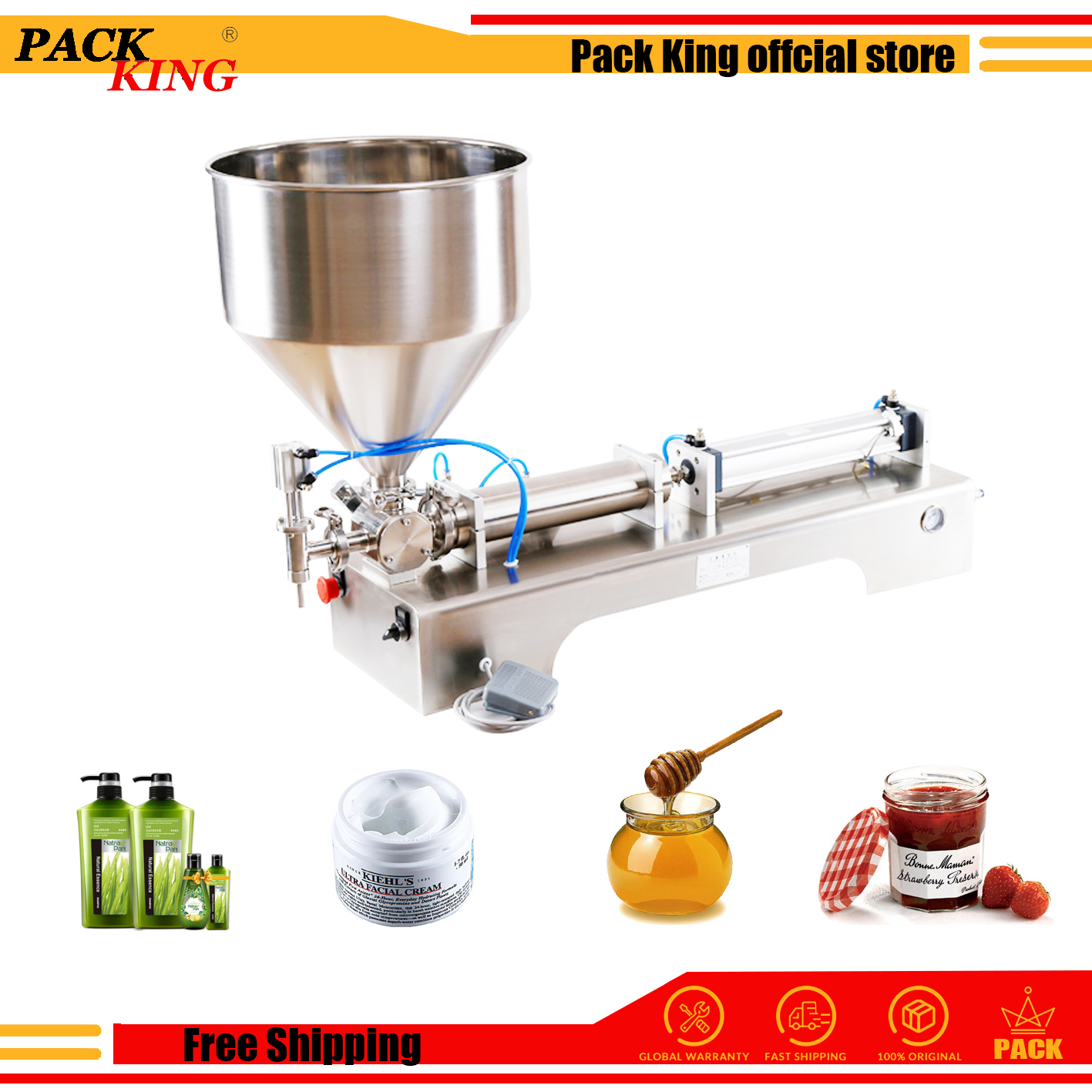 5000ml Model Honey Sauce Cream Paste Filling Machine Pneumatic Filler Shampoo Lotion Piston Gel Detergent Free Shipping