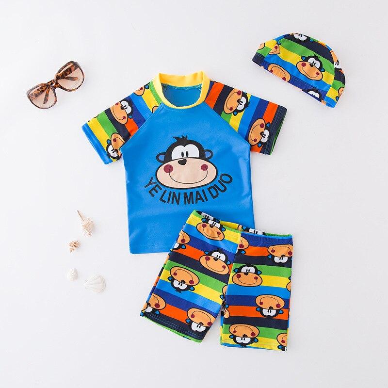 Short In Size Processing KID'S Swimwear Boy Split Swimsuit Blue Monkey Short Sleeve Beach Tour Bathing Suit With Cap 3 Pieces