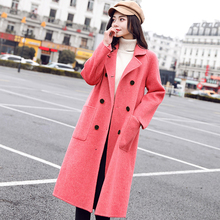 Elegant Autumn Winter Women Long Woolen Coat Casual Warm Wool Blends Overcoat Fashion Solid Double Breasted Cashmere Coats все цены