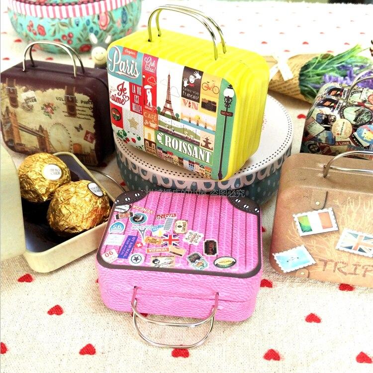 30 pièces Europe Style valise vintage forme bonbons boîte de rangement faveur de mariage boîte en fer blanc articles divers organisateur conteneur petite décoration