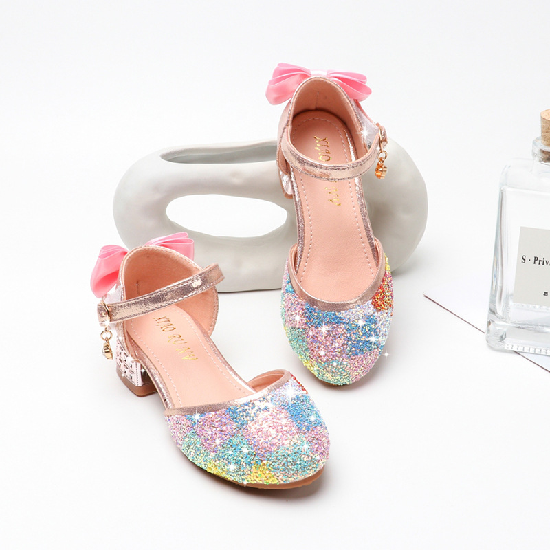 New Princess Kids Shoes Casual Glitter Leather Wedding Girls Sandals Rainbow Sequin Sandal Party Dress High Heels Children Shoes