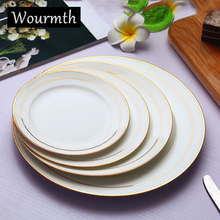 Bone China Phnom Penh Dinner Plate Set Health and Safety Tableware Pure White Round Western Plate Steak Disk Salad Fruit Plates