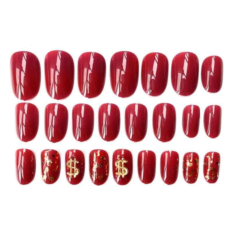 24 pçs/set Folha de Ouro Acrílico Falso Dicas Nails Manicure Cobertura Completa Manicure Falso Nail Dicas Extensão Manicure Art Nails Falsos Novo