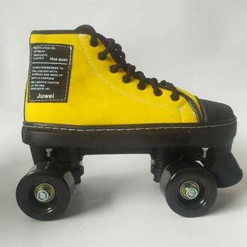 Patines De Ruedas De cuero PU, calzado con Ruedas antideslizantes Quad 4, calzado con Ruedas para patinar