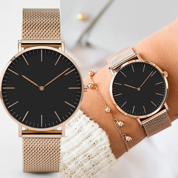 Fashion Women Watches Ultra Thin Stainless Steel Mesh Belt Quartz Wrist Watch Ladies Dress Watch Classic Rose Gold Clock Casual image