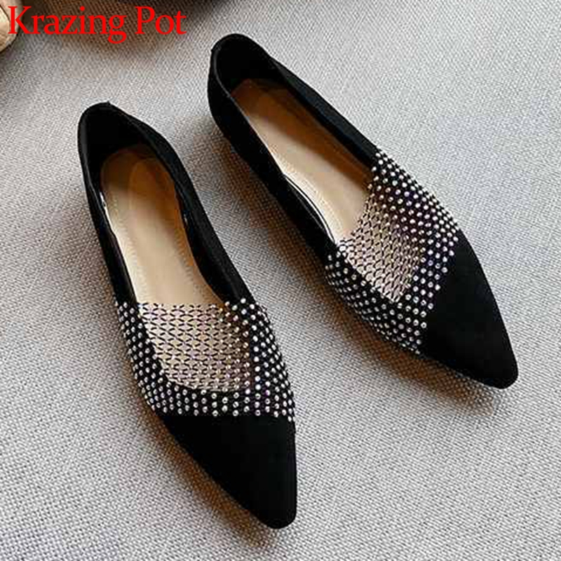 Krazing Pot Shiny Crystal Decorations Genuine Leather Sweet Ladies Shoes Small Square Toe Slip On Women Dating Fashion Pumps L99