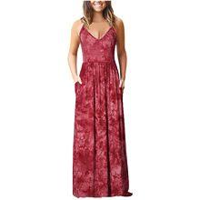 Vestido de verano largo de talla grande, holgado, estampado, sin mangas, con bolsillos, 2021