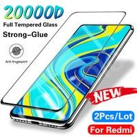 2 pezzi di vetro temperato sulla protezione dello schermo per Xiaomi Redmi Note 9 Pro Max 8 7 6 5 Pro pellicola in vetro temperato per Redmi 7 8 vetro