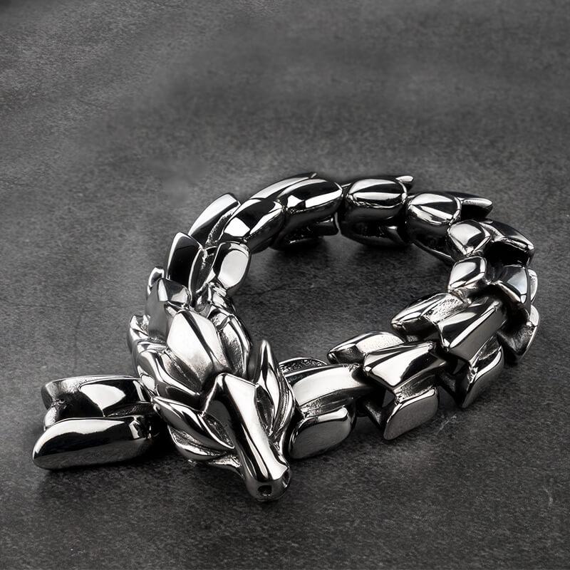 Винтаж Дракон-Викинг браслет для мужчин и женщин в стиле «панк-рок» тяжелый браслет из нержавеющей стали ювелирные изделия нержавеющей ста...
