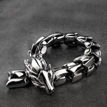 Vintage viking dragão pulseira para homens feminino punk rock pesado aço inoxidável jóias hiphop curb biker pulseiras banda de pulso 2020