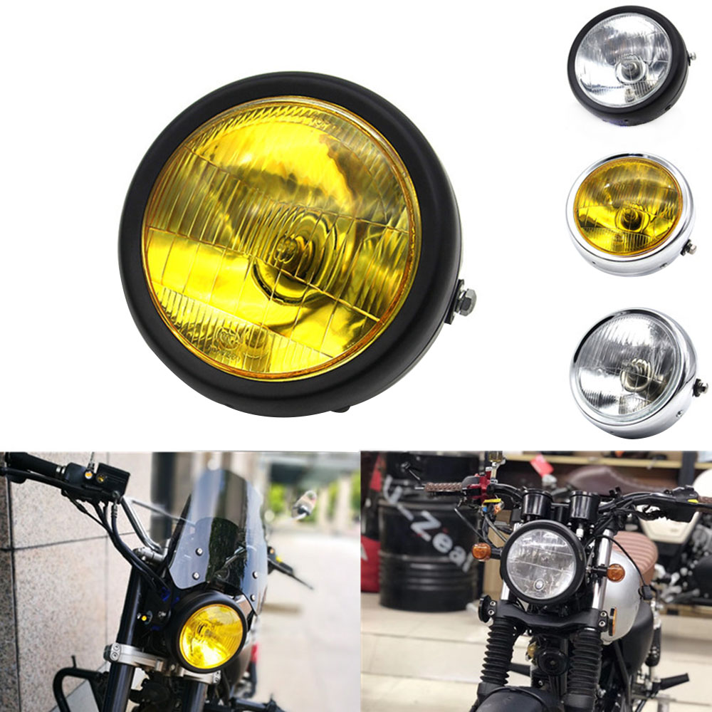 DC 12V Motorcycle Refit Headlight Vintage Round Motorcycle Head Light Scooter Motorbike Motor Front Headlights Lamp Universal O1