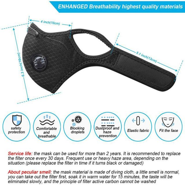 Windproof Dust Mask Sports Mask Activated Carbon Filter Exhaust Pipe Fitness Running Motorcycle Riding Mask 5