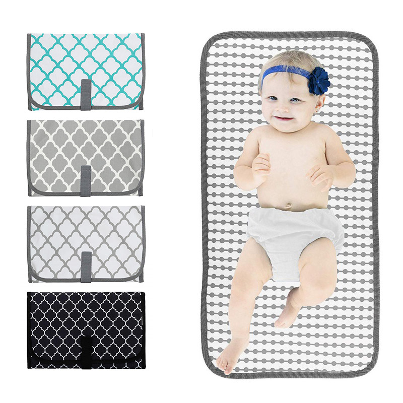 Baby Waterproof Cloth Portable Cotton Changing Station Newborn Infant Lightweight Travel Home Diaper Changer Mat With Pockets