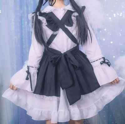 Siyah Ve Beyaz Lotus Yaprağı Kedi Kulaklar Hizmetçi Klasik Cosplay Kostüm Üniforma Elbise Lolita Elbise Kadın Kızlar Performans Giyim