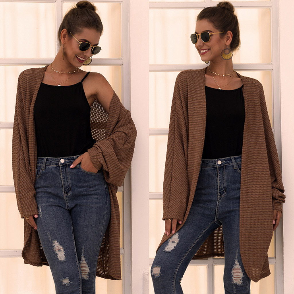 Knitted Sweater Womens Daily  Ladies Cardigan Knit Long Sleeve Loose Cover Up Coat Outerwear  Pull Femme Nouveaute 2019 Winter