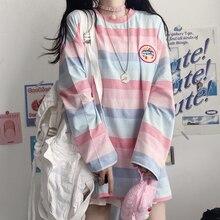 harajuku Long Sleeve T Shirt girl Christmas Topspring autumn embroidery stripe Tops Tee Women full Sleeve T-shirt Casual Female