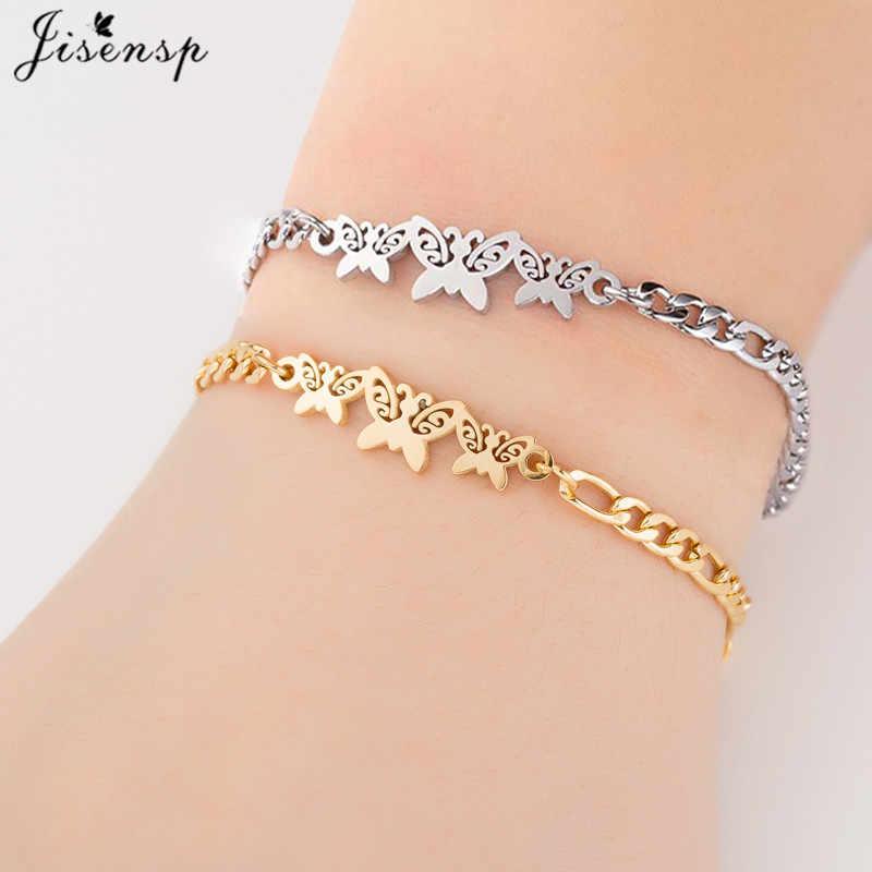Jisensp ze stali nierdzewnej zwierząt motyl bransoletki dla kobiet Trendy biżuteria wielowarstwowy łańcuch bicie serca śnieg boże narodzenie bransoletka