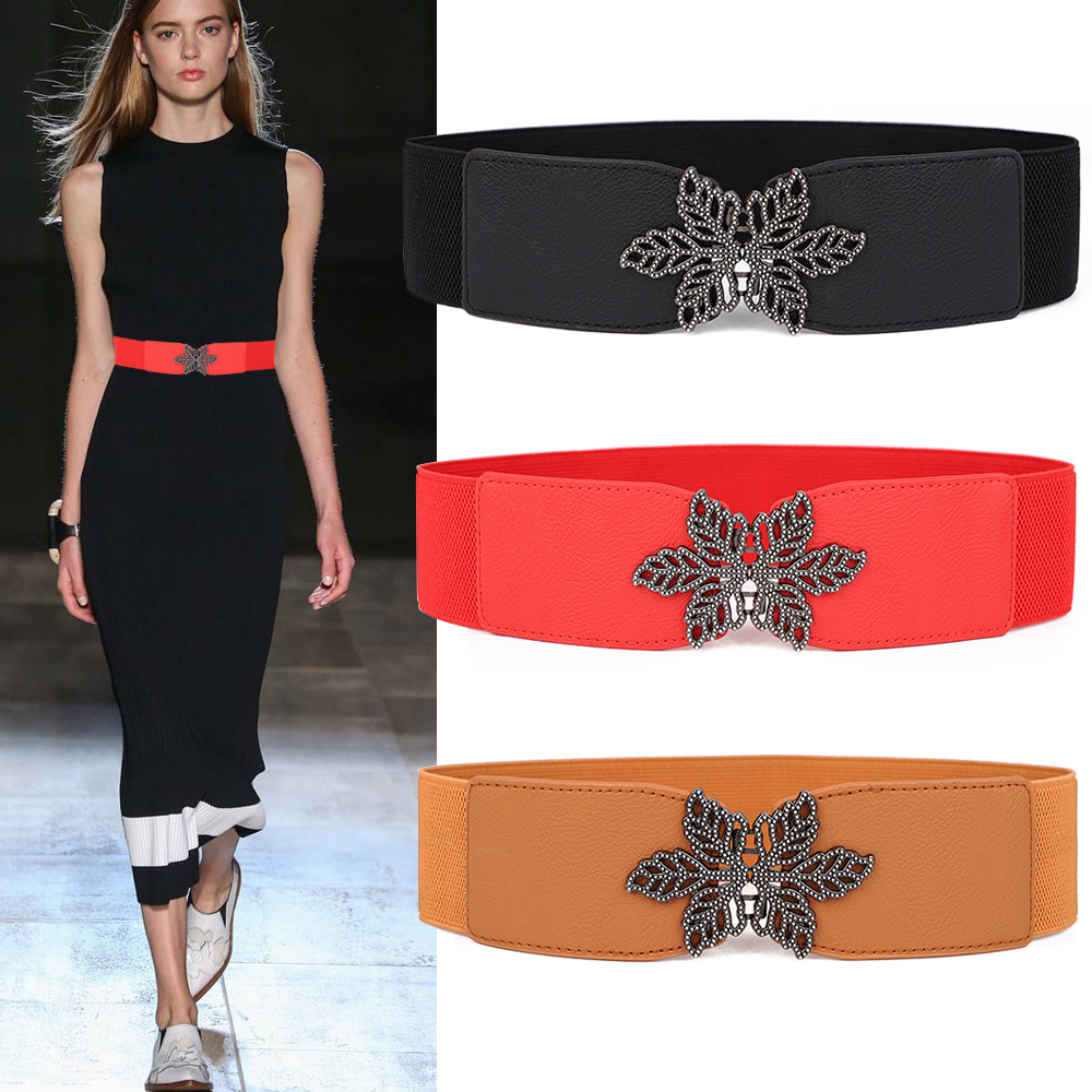 Elastic Belts Women Girl Stretch Waistbands Black Flower Leaf Shape Buckle Wedding Metal Female Cummerbund Cinturones Para Mujer