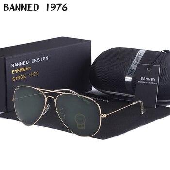 high quality BANNED G15 mirror glass lens design women men aviation Sunglasses uv400 feminin brand new oculos vintage sun Glasse