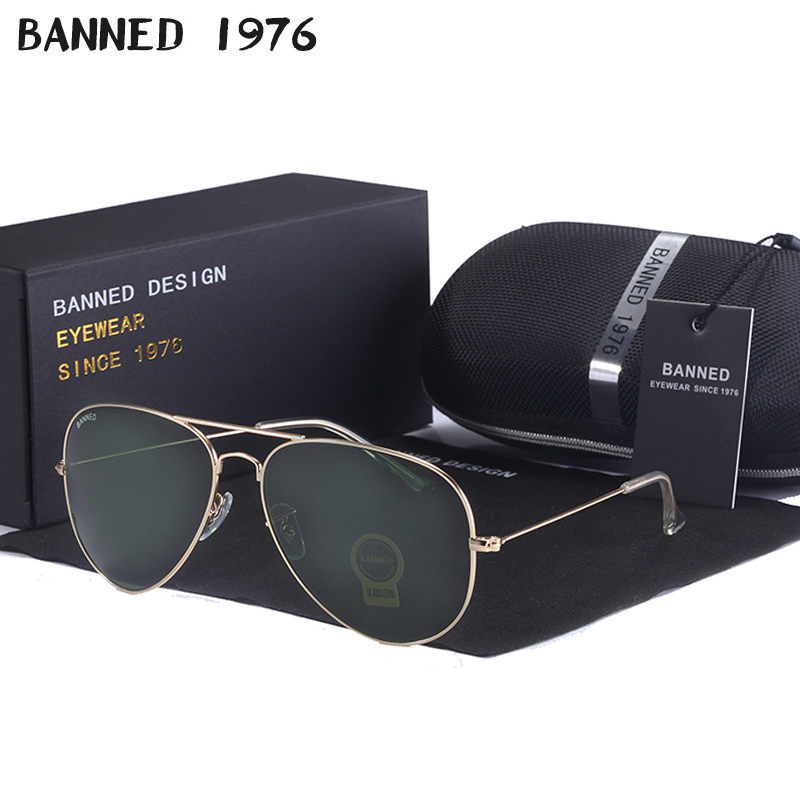 High Quality BANNED G15 Mirror Glass Lens Design Women Men Aviation Sunglasses Uv400 Feminin Brand New Oculos Vintage Sun Glasse