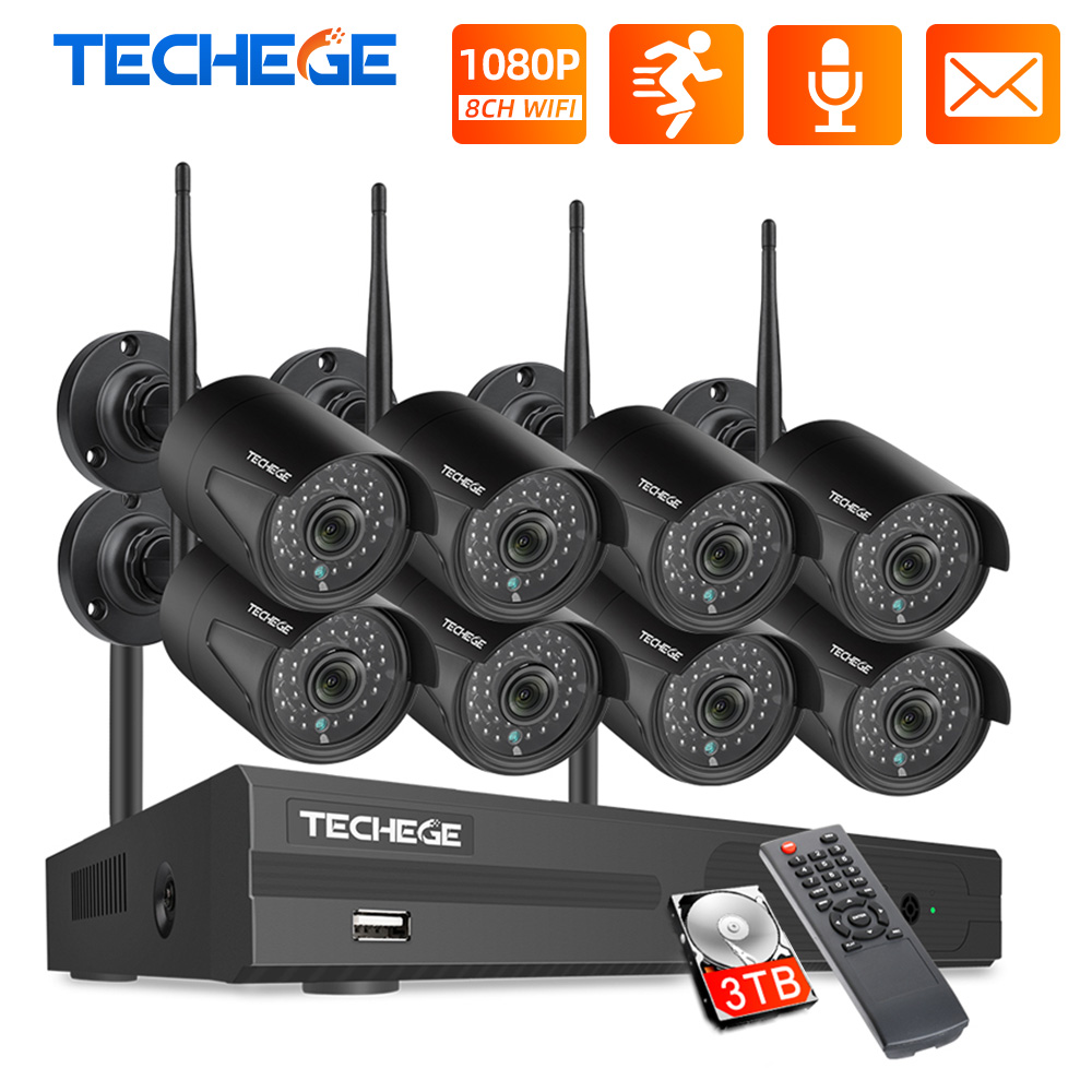 Techege 8CH CCTV Security System Kit 1080P HD Audio Wireless NVR Kit Outdoor Night Vision Security IP Camera WIFI Plug  amp  Play