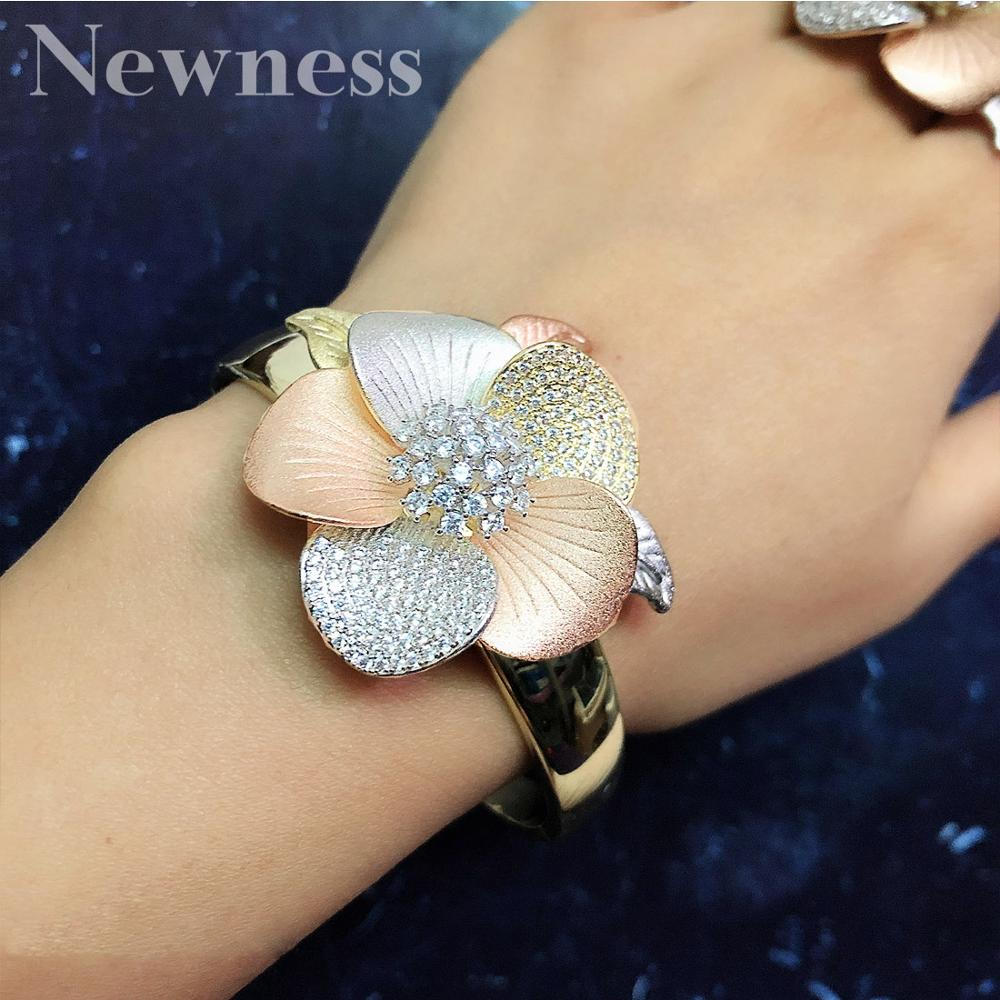 Newness Luxury 3Tone Flower <font><b>Nigeria</b></font> Bangle Ring <font><b>Set</b></font> <font><b>Jewelry</b></font> <font><b>Set</b></font> <font><b>For</b></font> <font><b>Women</b></font> Wedding Cubic Zircon Crystal CZ Dubai Bridal <font><b>Jewelry</b></font> image