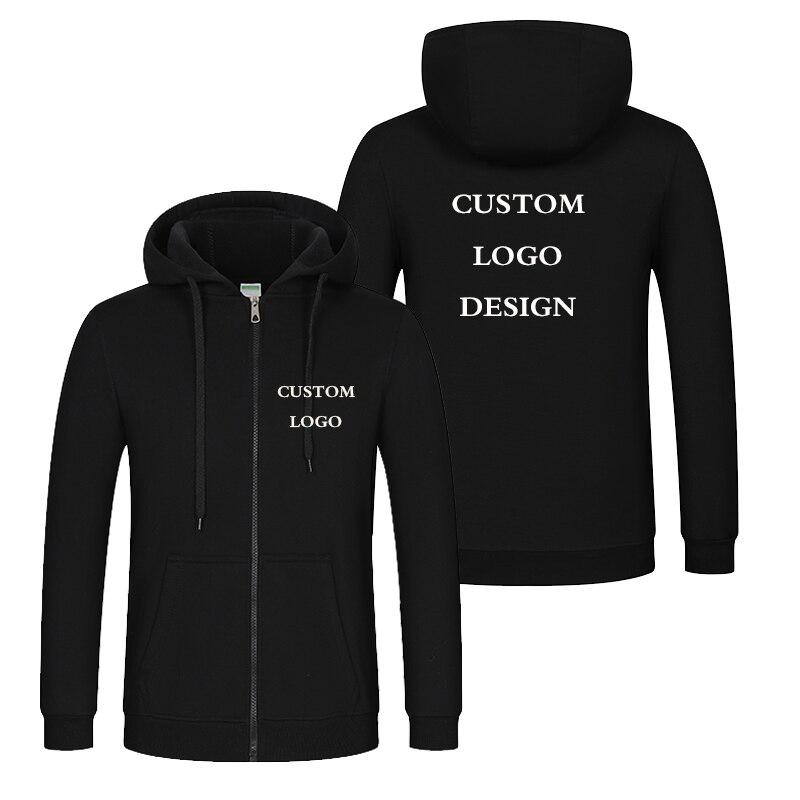 Autumn Winter Custom Logo Design Men & Women Hooded Jacket Korea Style DIY Printing Zipper Coat  Unisex Outdoor Jackets