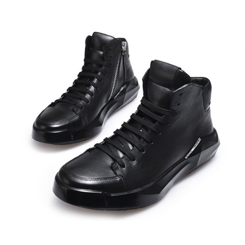 England Style Top Quality Brand Mens Genuine Leather Pigskin Lace Up Fashion Breathable High Top Thick Bottom Casual Shoes Male