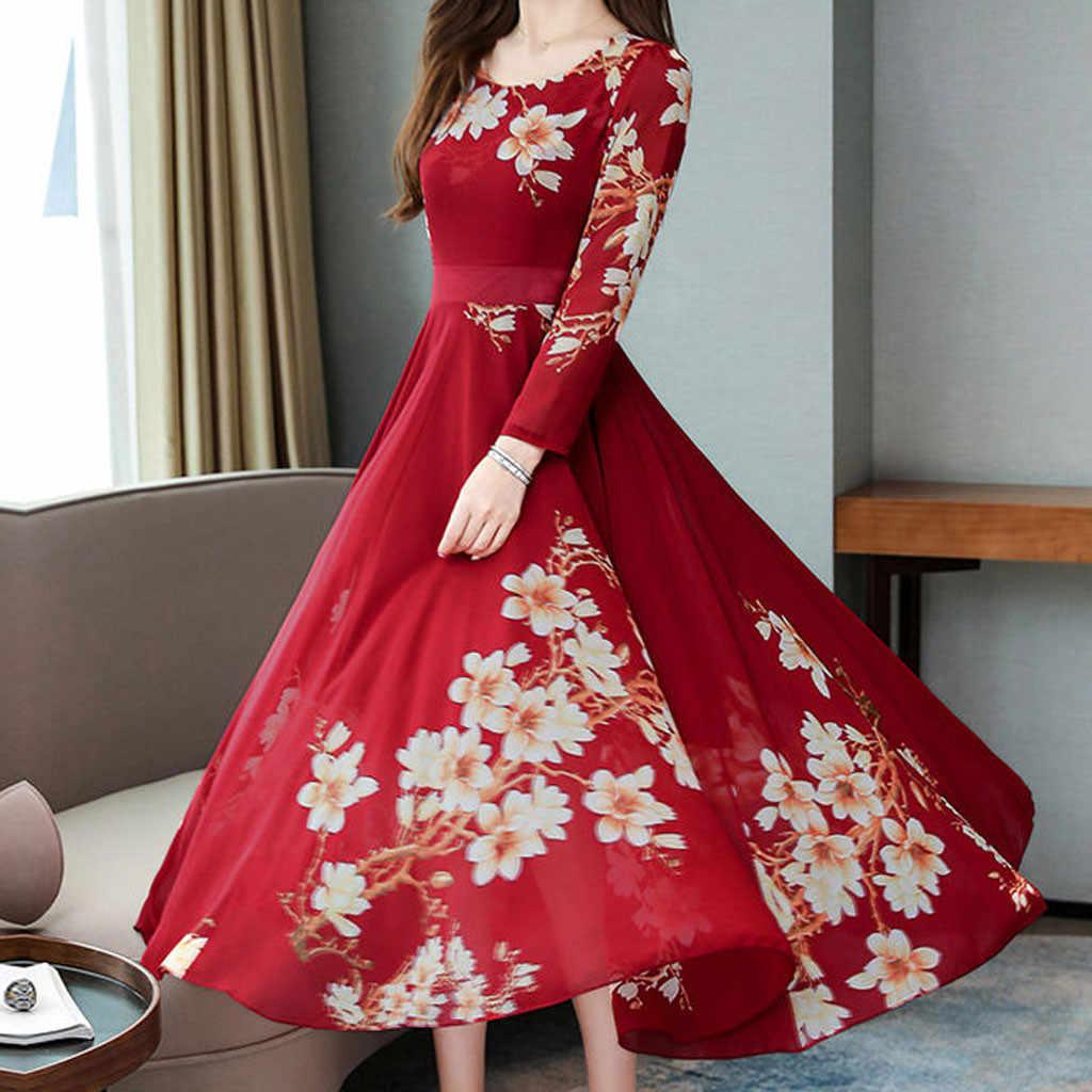 Böhmischen Stil Plus Größe 4xl 2020 Sommer Neue Ankunft A-line Langarm Blume Gedruckt Frau Chiffon Lange Kleid Vestidos # p30