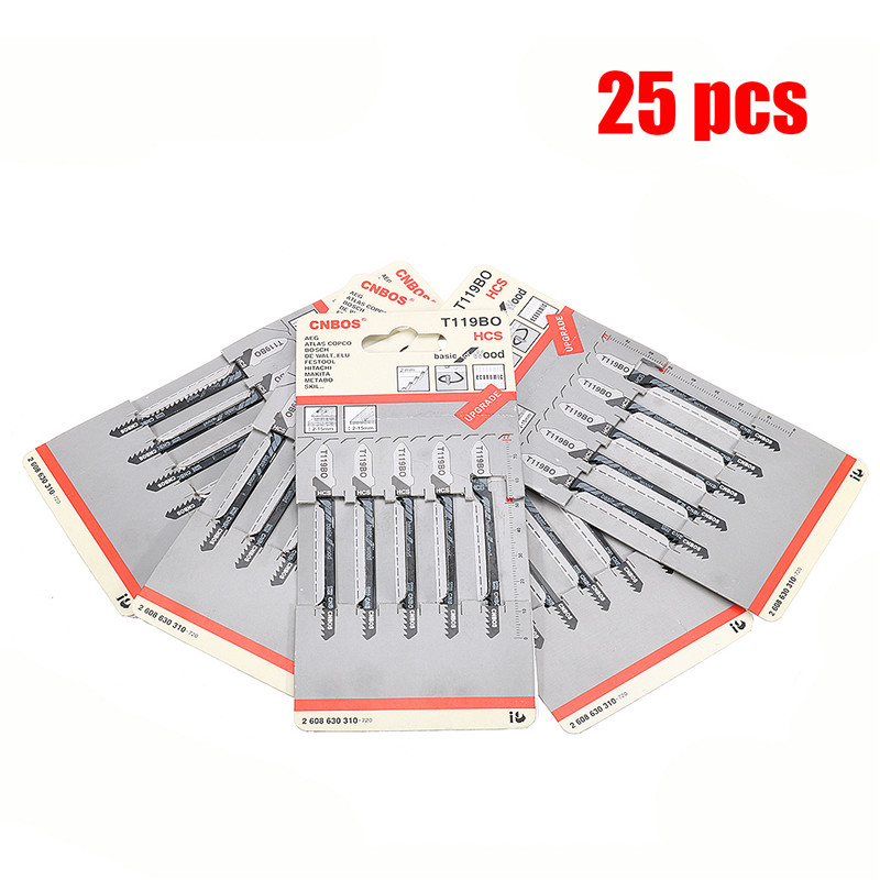 25Pcs/Set T119BO Jig Saw Blade Set Metal Steel Jigsaw Blade Set Fitting For Plastic High Carbon Steel Woodworking Tools